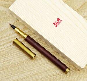 Hongdian ручная работа палисандр и латунь кисть Ручка каллиграфия мягкий наконечник 0,7-5 мм Поставляется с конвертером искусство Рисование Напи...