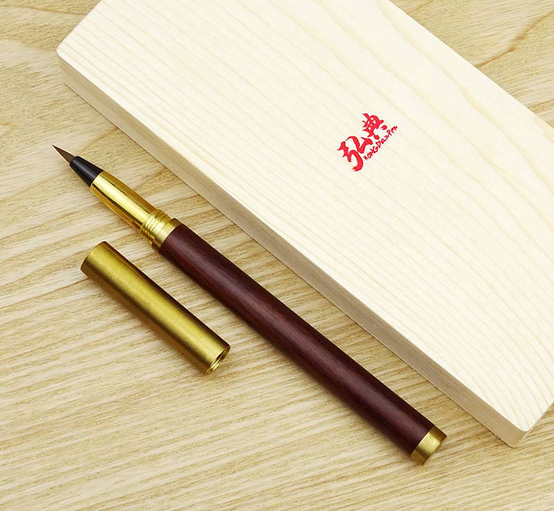 Hongdian Handmade Rosewood & Brass Brush Pen Calligraphy Soft Nib 0.7-5mm Come With Converter Art Drawing Writing Gift Ink Pen