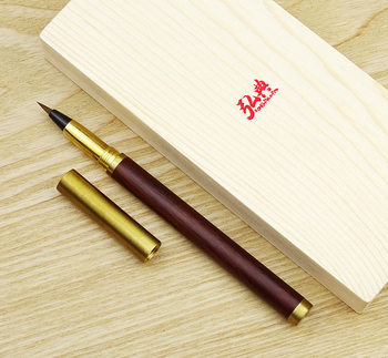 Hongdian Handmade Rosewood & Brass Brush Pen Calligraphy Soft Nib 0.7-5mm Come with Converter Art Drawing Writing Gift Ink Pen retro brass pen 0 5mm black ink hand made metal pen the tactical pen copper gift pen stylus private outdoor travel kit