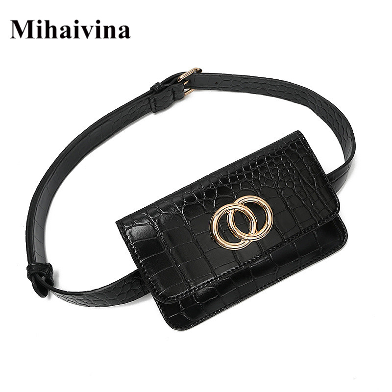 Mihaivina Luxury Waist Bag Women Belt Bag Leather Fanny Pack Black Mobile Phone Bag Female Belt Fahion Shoulder Pocket Hip Pack