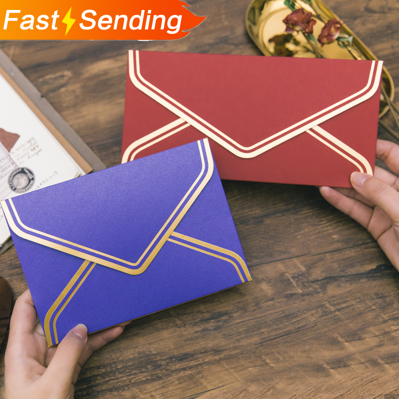 JIANWU 5pcs/set Exquisite Bronzing Envelope Greeting Card Gift Packaging Vintage Art Fire Paint Envelope Set Gifts