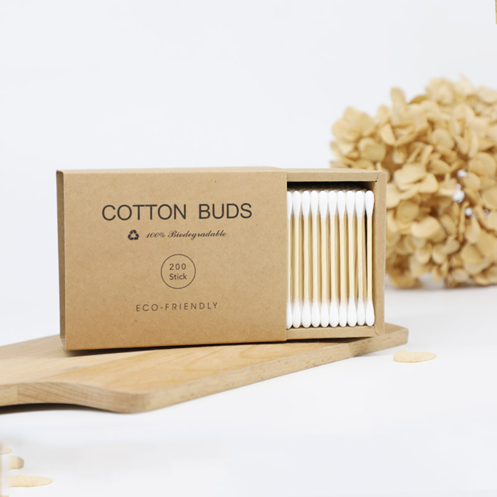 200pcs/lot Head Bamboo Cotton Swabs Disposable Cotton Buds Wood Sticks For Beauty Makeup Ears Nose Cleaning