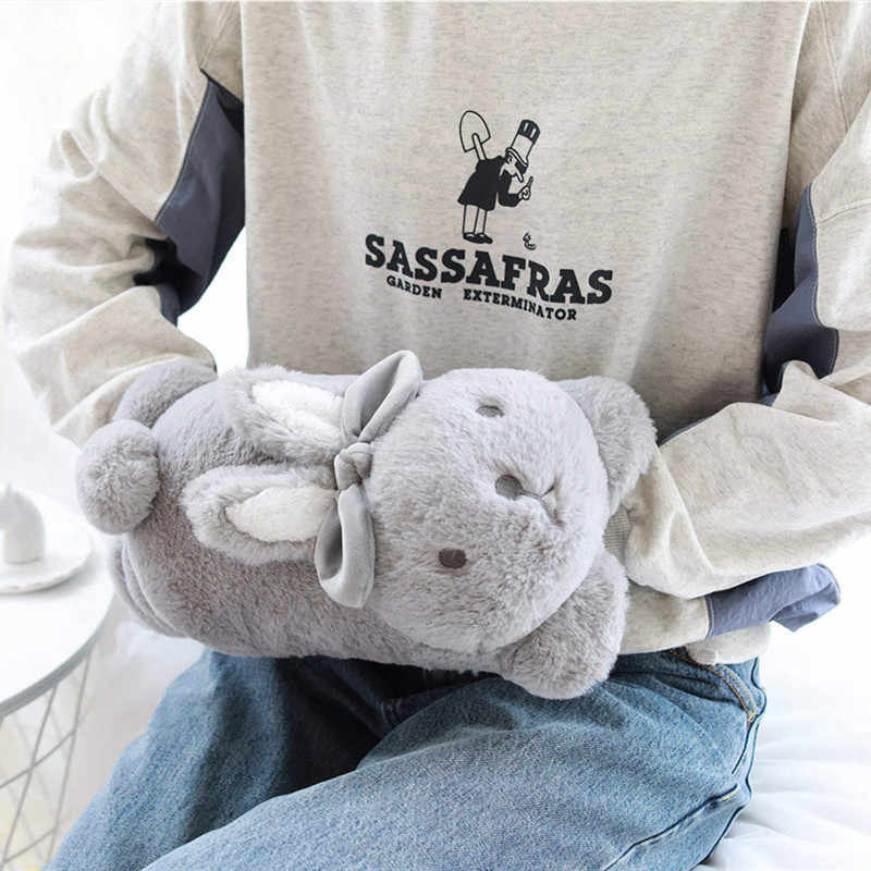 Novo coelho macio de pelúcia quente mãos com cobertor 3 em 1 adorável coelho coelho brinquedos de pelúcia boneca crianças menina aniversário presentes de natal