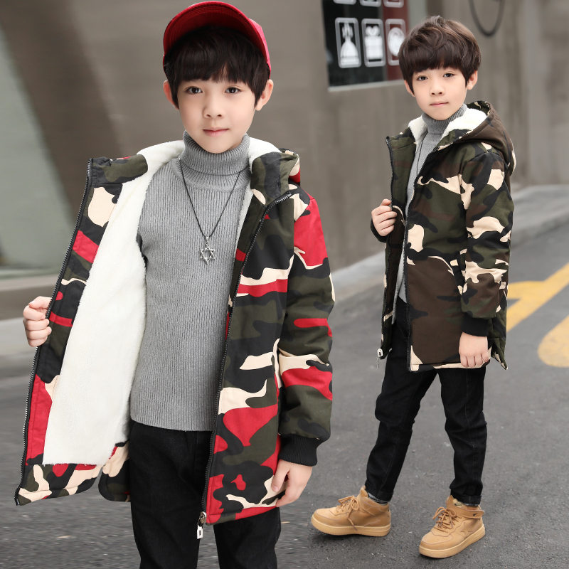 Russian Children Winter Camouflage Coat Kids Warm Hooded Jacket Camouflage Print Warm Jacket Fashion Thick Hooded Outerwear