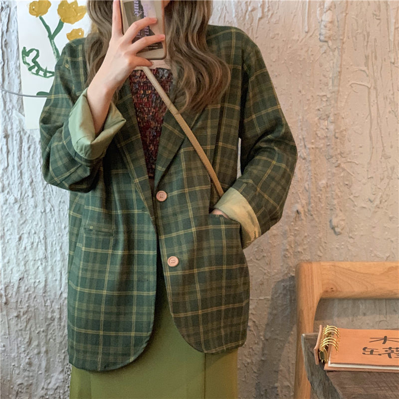 HziriP Green Plaid All-Match Autumn Loose Vintage Streetwear Casual Fresh Brief Single-Button High Quality Office Lady Blazer