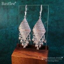 Bastiee 999 Sterling Silver Geometric Drop Earrings Bohemian Tassel Women Handmade Earing Gypsy Ethnic Fine Boho Jewelry Luxury