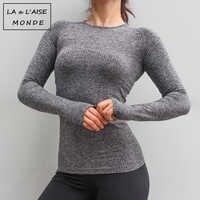 Nahtlose Langarm Sport Top Fitness Frauen T-shirt Lauf Workout Yoga Top Sport Tops Gym Jersey Crop Top Sport T-shirt