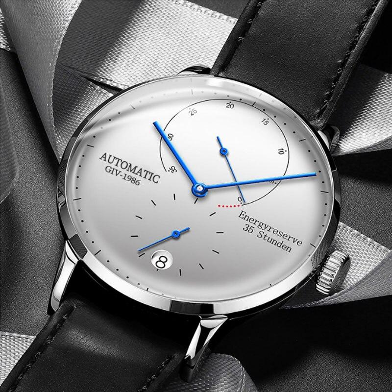 GIV мужские часы, Роскошные автоматические механические часы, сапфир, 100 м, водонепроницаемые, Бизнес Мода, хранение энергии, отображение даты