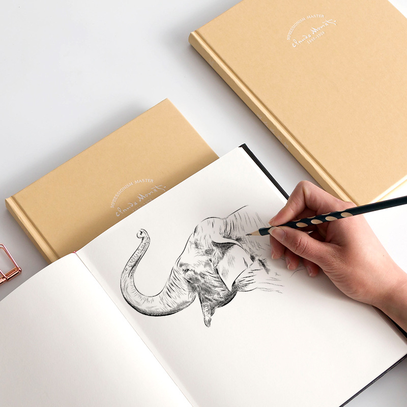 B5 16K Large Simple Sketchbook All White Blank Drawing Notebook 160gsm School Kids Draw Excercise Book