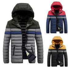 KLV Men Cotton Padded Thickened Coat 2019 Winter Streetwear Casual Splicing  Hoodie Patchwork Male Clothes