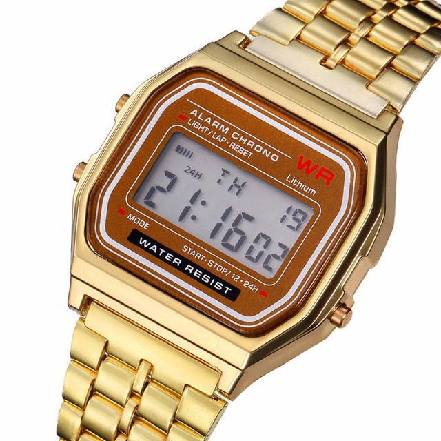 Men's Watch Vintage Business LED Digital Quartz Wrist Watch Dress Golden Stainless Steel Watch Boys Sports Traveling