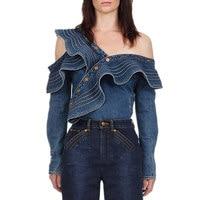 Sexy Denim Shirt Women 2019 Autumn Skew Collar Ruffles Long Sleeve Women Blouse Fashion Blue Denim Jeans Blouse Ladies Tops