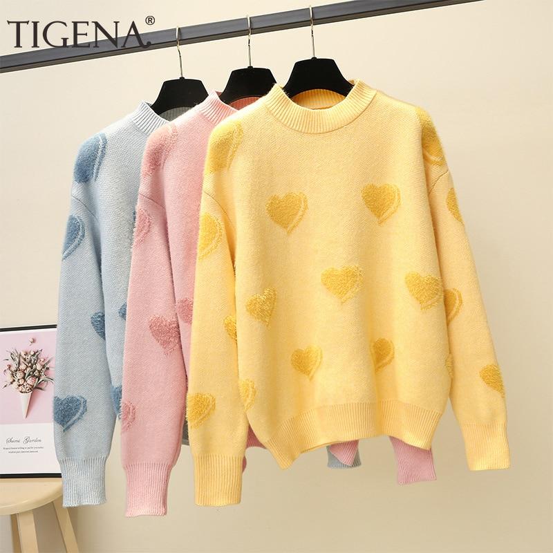 TIGENA Heart Pattern Knit Pullover Sweater Women Jumper 2019 Winter Korean Kawaii Cute Long Sleeve Fluffy Sweater Female Yellow