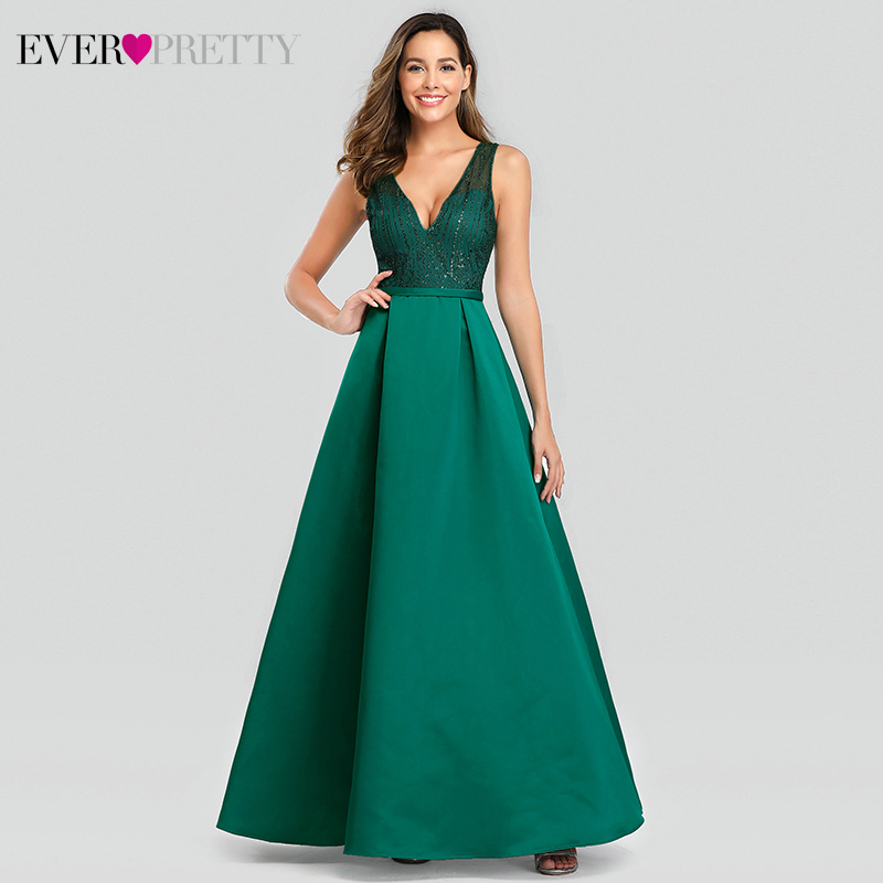 Elegant Dark Green Evening Dresses Long Ever Pretty EP00839DG A-Line Double V-Neck Sparkle Formal Party Gowns Vestido Longo 2020