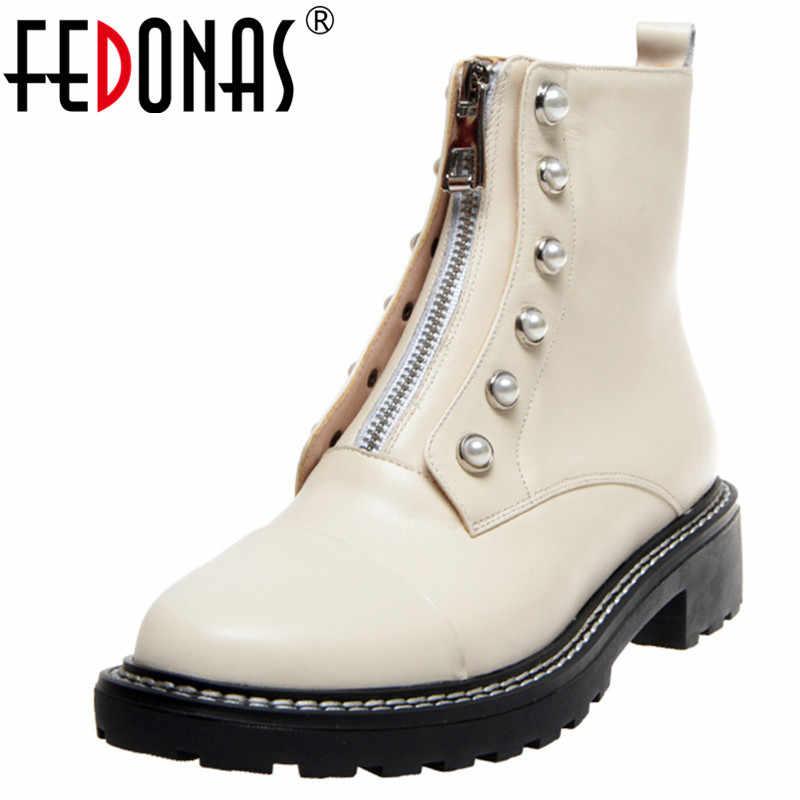 FEDONAS inci dekorasyon fermuar kadın yarım çizmeler kış yeni kadın hakiki deri kısa çizmeler tıknaz topuklu gece kulübü ayakkabı