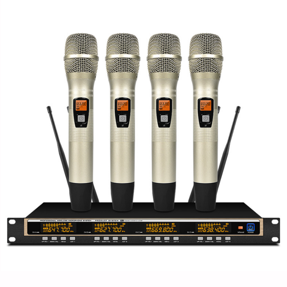 Professional UHF Wireless Stage Microphone System 4 Channel 4 Lavalier Lapel Cordless Microphone Mic Headset With Receiver