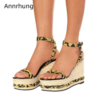 Printed Color One strap Gladiator Sandals Women High Platform Straw Knitted Wedges Cross Ankle Strappy Catwalk Shoes Woman