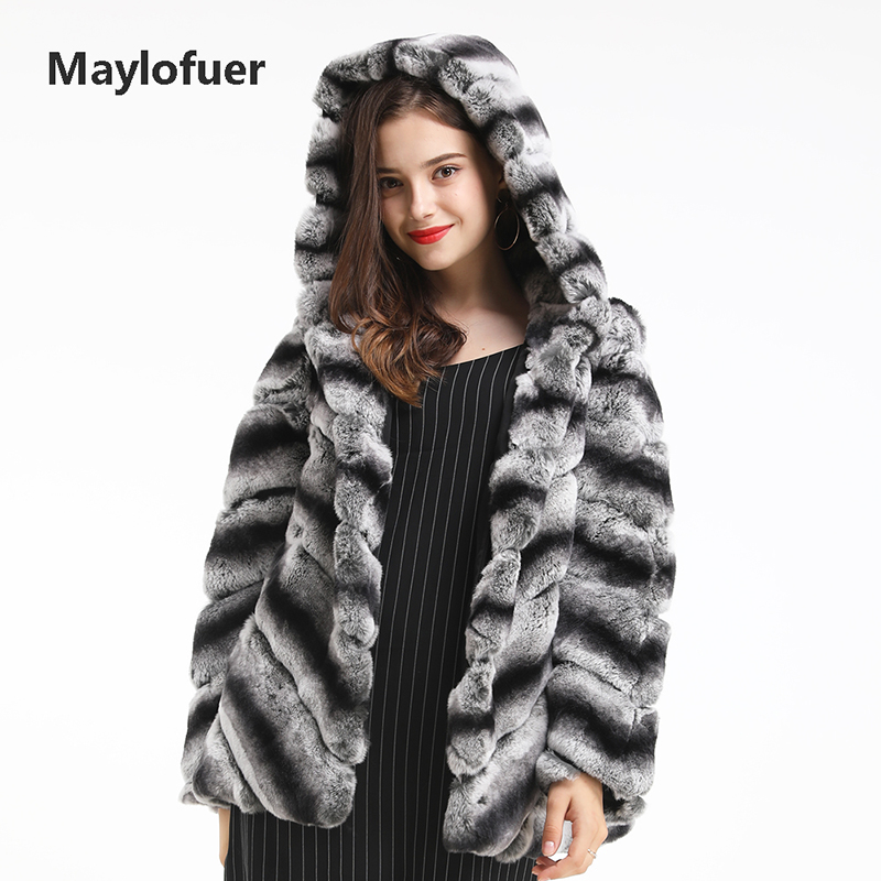 Maylofuer Classic Real Rex Rabbit Fur Coat Hooded Chinchilla Rabbit Fur Jacket With Long Sleeves Female Ladies Overcoat Outwear