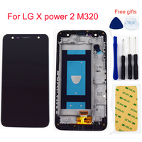 For LG X power 2 M320 LCD Display Monitor Screen Panel Module + Touch Screen Digitizer Sensor Glass Assembly Frame