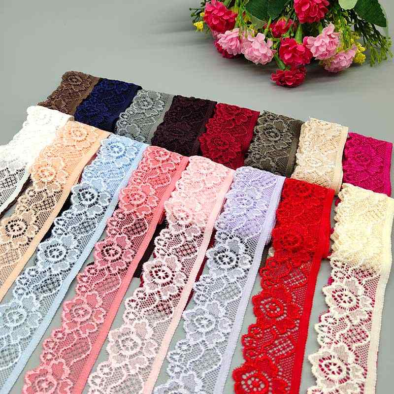 H251 1 yarda Flor Elástico Cinta Ribete de Encaje Tejido Elástico Costura Craft