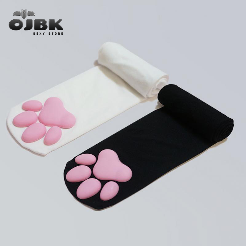 Diz 3D silikon kedi pençeleri pamuk yüksek kaliteli kadın Lolita Pawpads çorap Cosplay moda uyluk yüksek Anime pençe çorap yeni