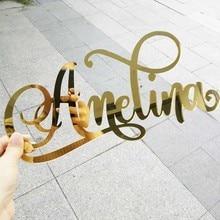 Letrero de nombre de corte acrílico personalizado, decoración de fiesta de cumpleaños de boda, espejo dorado, nombre personalizado, colgante de pared, suministros para regalos de fiesta