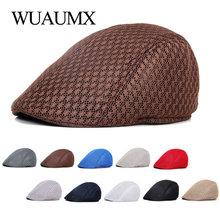 Wuaumx Breathable Mesh Beret Hat Men Women Solid Visor Net D