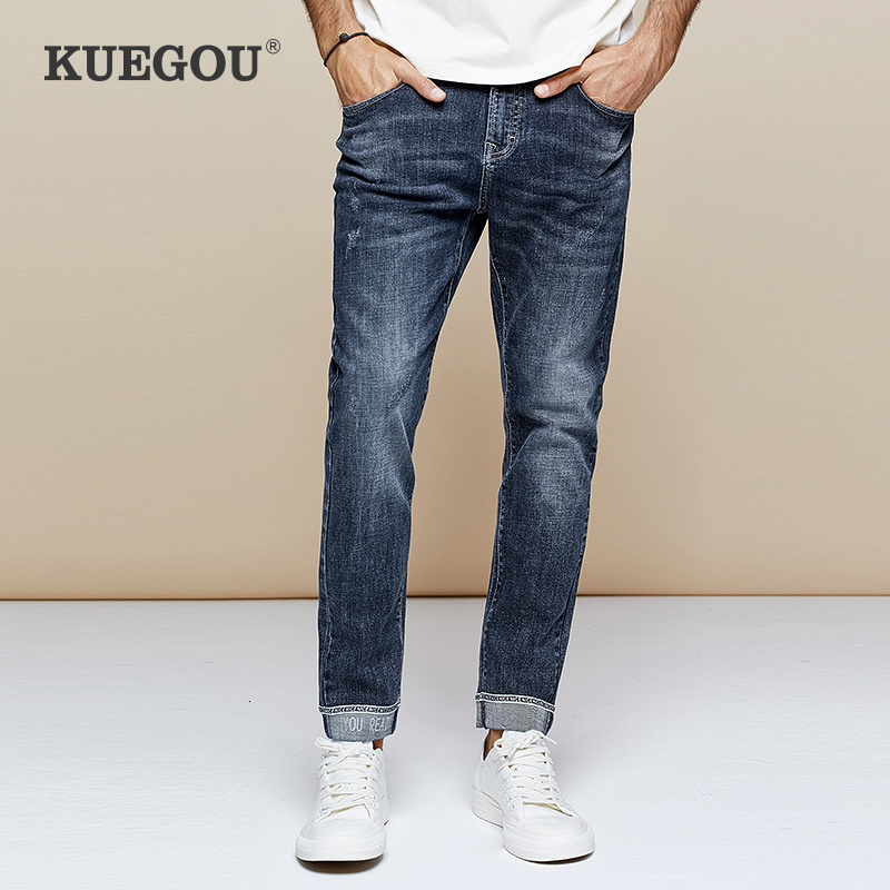 KUEGOU 2019 Autumn Embroidery Letter Black Skinny Jeans Men Streetwear Brand Slim Fit Denim Pants For Male Hip Hop Trousers 1766