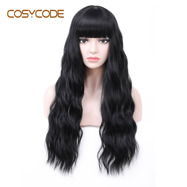 COSYCODE Black Wig with Bangs 24 inch Long Natural Wave Wavy Curly Women Wig Non Lace Synthetic Cosplay Wig Costume 60 cm