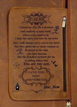 Ξεχωριστό Δερμάτινο Σακίδιο Ώμων με Προσωποποιημένο Μήνυμα για Άνδρες και Γυναίκες Μοναδικό Δερμάτινο backpack με Τυπωμένη Προσωπική Αφιέρωση σε Γιο ή Κόρη