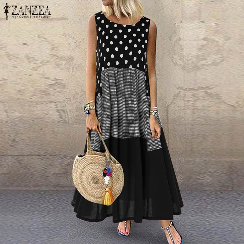 Women's Bohemian Ruffle Sundress 2019 ZANZEA Summer Sleeveless Floral Printed Maxi Long Dress Casual Loose Party Tanks Vestido