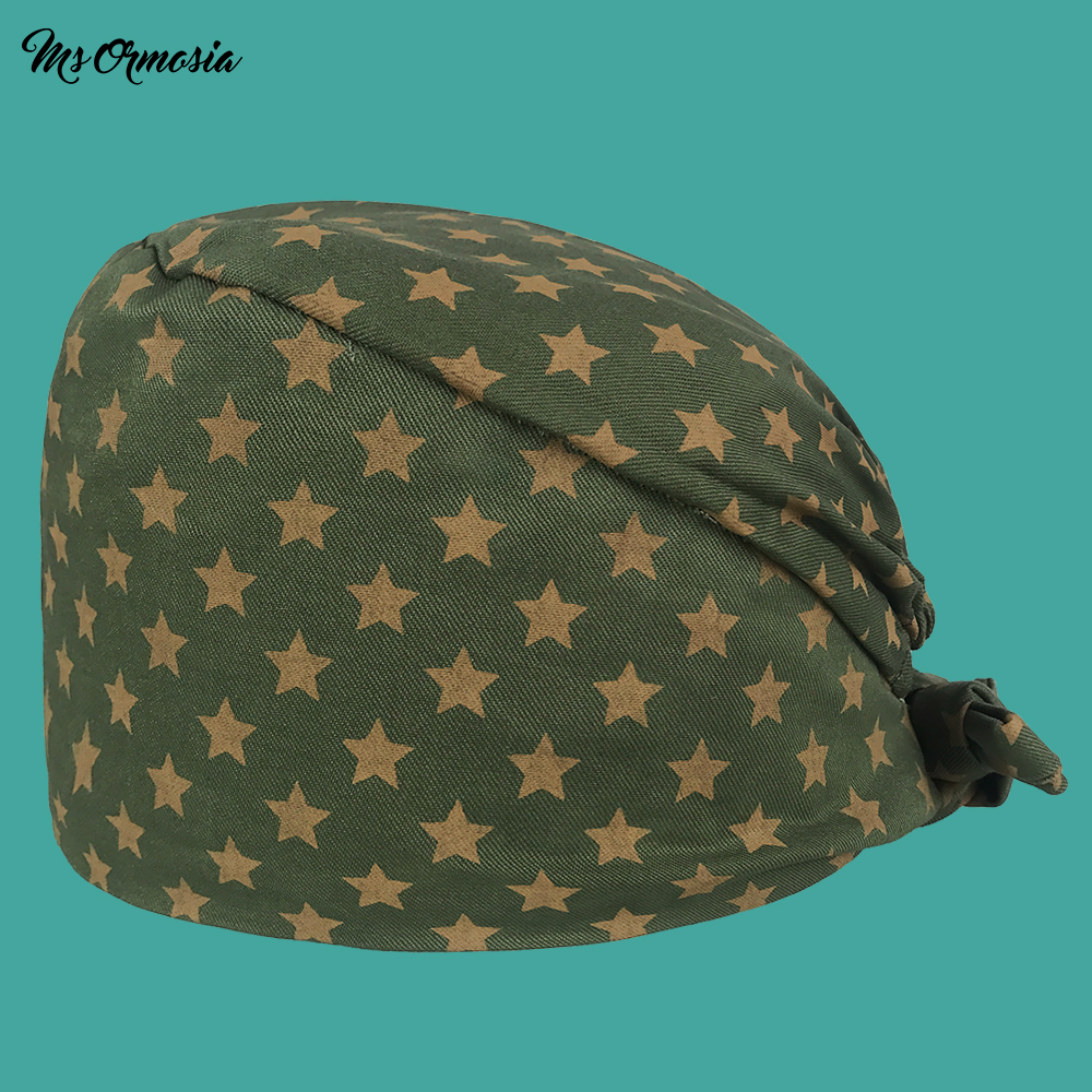 Quality Green Star Printing Men And Women 100% Cotton Hospital Nurse Cap Band Elastic Operating Room Surgical Cap Medical Hat