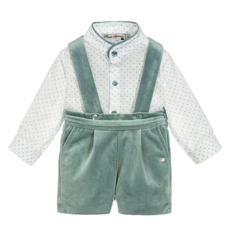 Espanhol roupas de bebê baptizado crianças meninos conjuntos infantil conjunto crianças menino camisa macacão outono inverno para o aniversário vestido