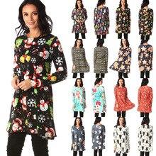 Christmas Dress Fashion Print O-Neck Long Sleeve Autumn Winter Dress Women Plus Size Slim Casual Vestidos Knitted Robe Femme 5XL цены