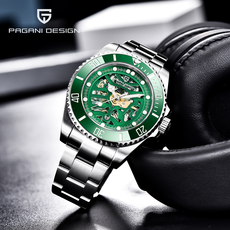 PAGANI DESIGN Men's Watches Skeleton Mechanical Watch For Men Automatic Watch Men Stainless Steel Wrist Watch Reloj Hombre 2020