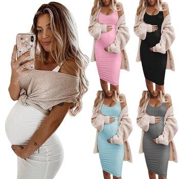 Maternity Dresses Bodycon Pregnant Women Dress Stretchy Summer Solid Color premama Knee-length Dress Vestidos Plus Size 2XL D30 color block plus size work bodycon dress