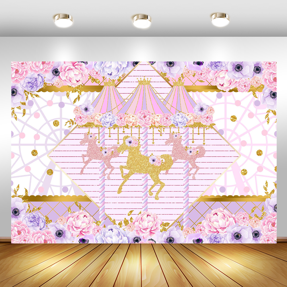 Glitter Pink And Purple Carousel Girl Birthday Party Background for Photography Flower Baby Shower Decoration Backdrop for Photo