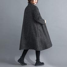 Зимнее длинное Свободное пальто для беременных с карманами размера плюс, хлопковый кардиган для беременных женщин, Модная трикотажная одежда