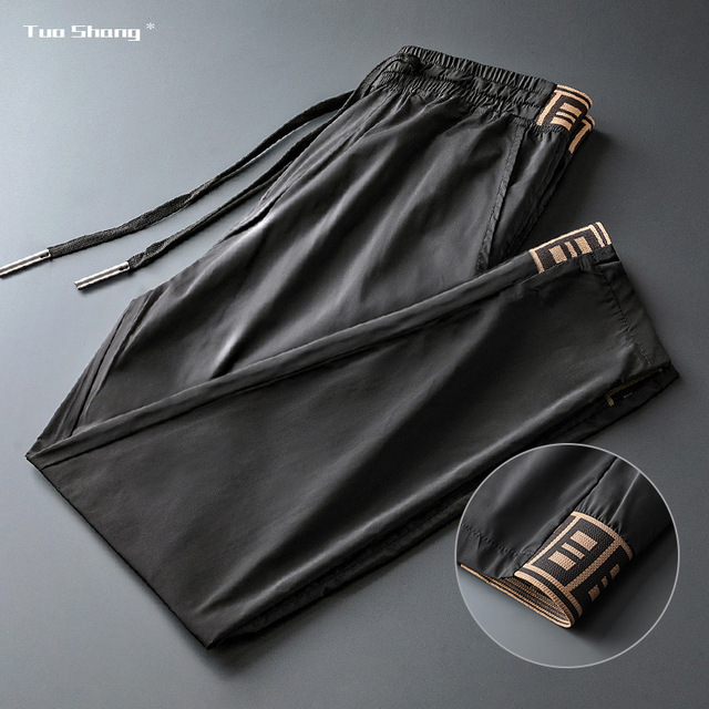 2019 Mens Luxury Jogger Pants New Brand Drawstring Sports Pant Men Stitching Thin Section Ribbon Personality Casual Trousers 16
