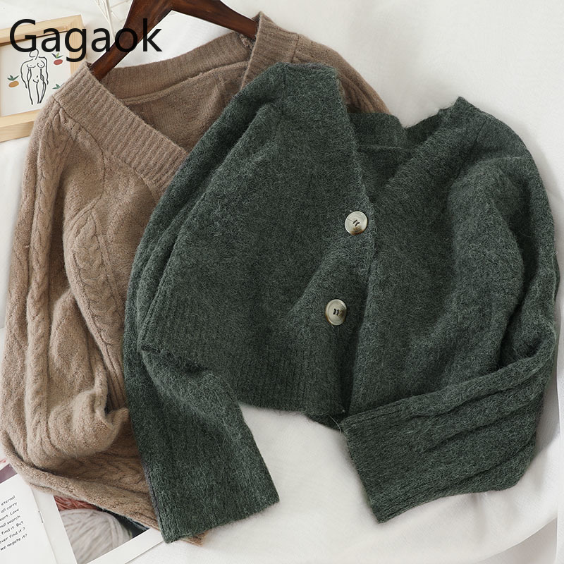 Gagaok Women Knitted Loose Fashion Sweater Spring Autumn New Solid V-Neck Full Short Single Breasted Female Harajuku Cardigans