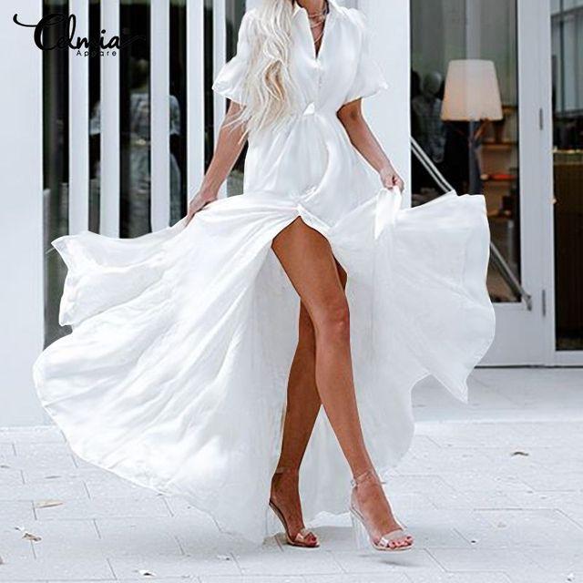 Celmia Bohemian White Ruffled Dress Women Short Sleeve Button Casual Split Sexy Maxi Long Vestidos Swing Party Dress Plus Size 1
