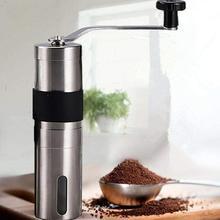 Srebrny młynek do kawy Mini instrukcja obsługi ze stali nierdzewnej ręcznie młynki do kawy Burr młynki młynek do narzędzi kuchennych tanie tanio KITPIPI CN (pochodzenie) Archiwalne Hand crank coffee grinder