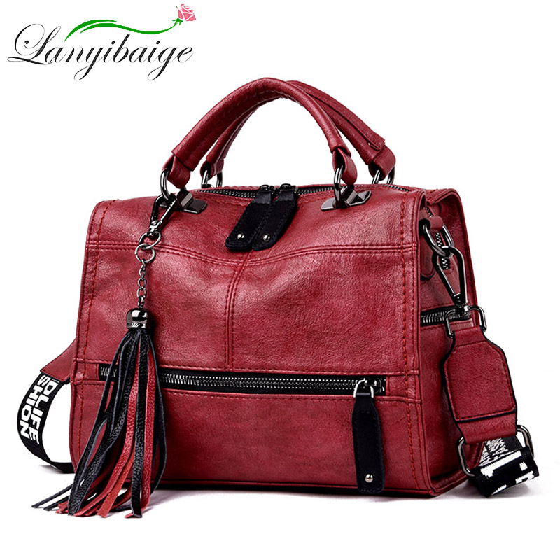 2020 Retro Women Leather Handbags Female Messenger Bags Women Luxury Tassel Shoulder Bag Fashion Casual Ladies Tote Bolsa