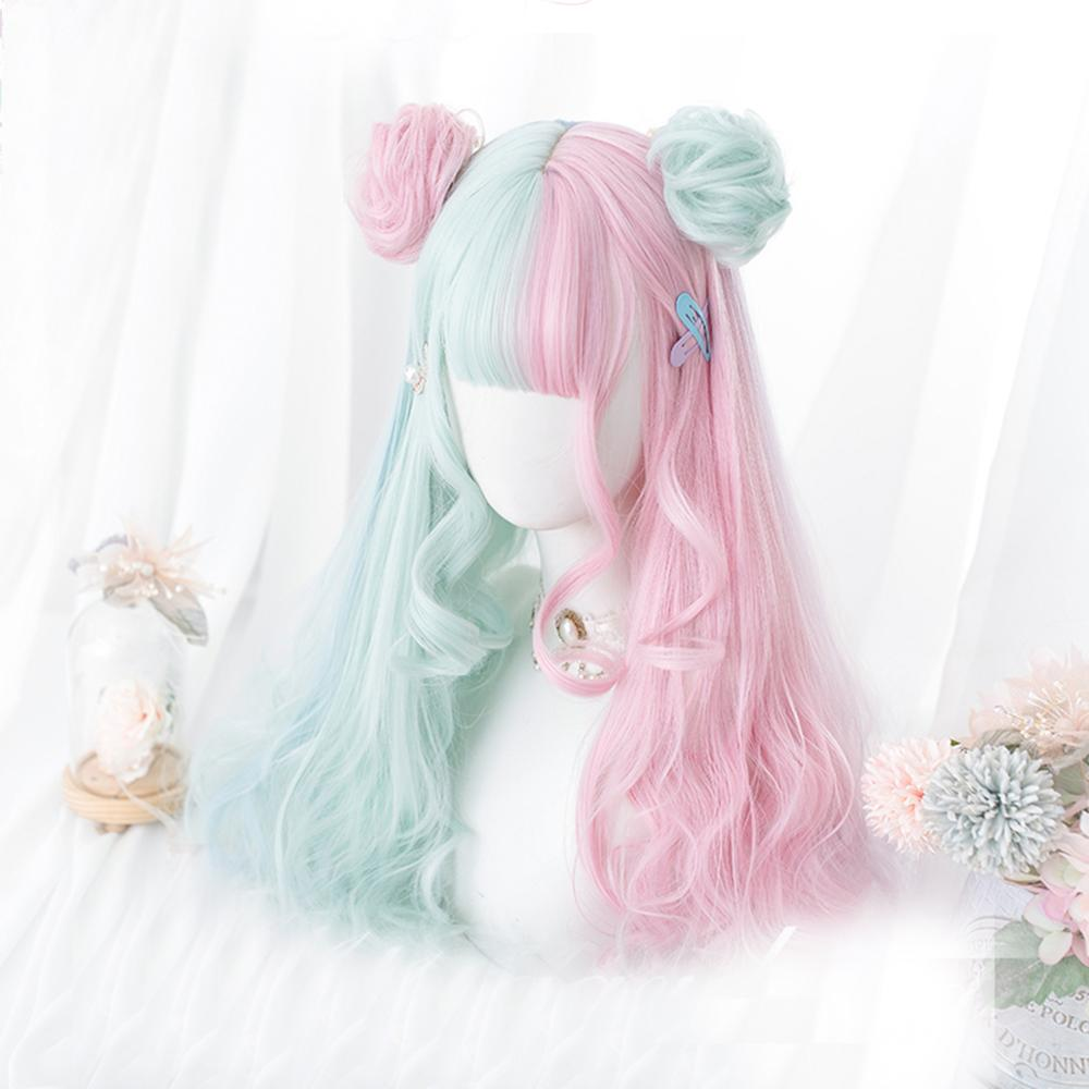 Lolita Makaron Color Pink Mixed Mint Green Blue Ombre Long Curly Bangs Cute Synthetic Buns Cosplay Wig Cosplaymix 57CM