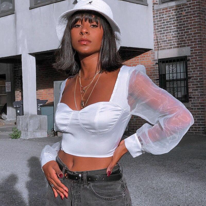 Wannathis Spliced Mesh Long Puff Sleeve V-Neck Silk Blouse Women Black Sexy Short Top Slim Fashion Autumn New Satin Lady Cropped