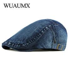 Wuaumx простой джинсовый берет с потертостями кепка для мужчин