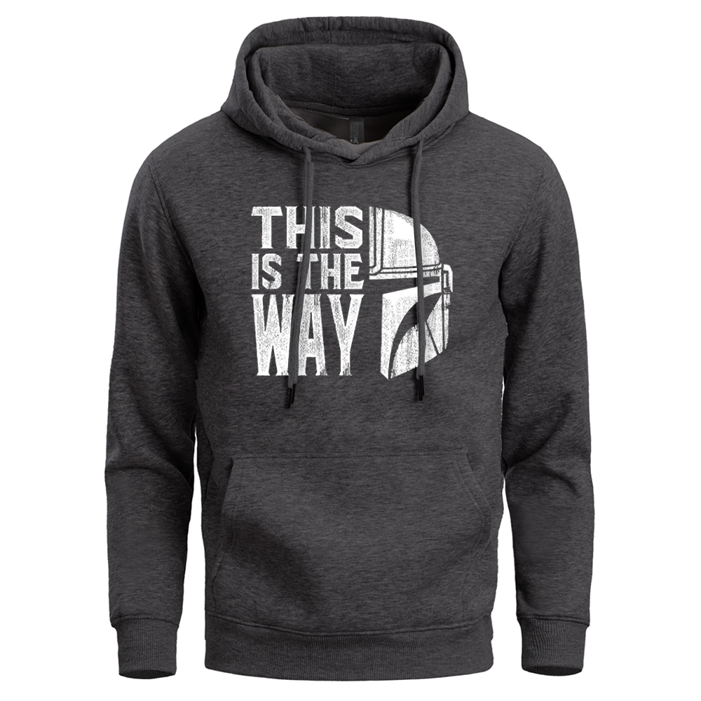 This Is The Way Mandalorian Men Hoodies Sweatshirts Male Hoodie Pullover Star Wars Sweatshirt Winter Fleece Warm Crewneck Hoody