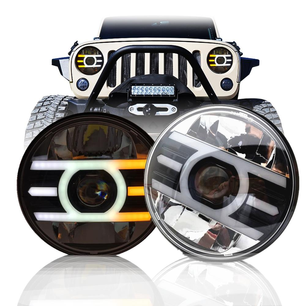 For Lada Niva 4X4 Urban 7inch Led Headlight Hi Low H4 Angle Eyes DRL Headlamp For Jeep Wrangler TJ JK Off Road suzuki samurai