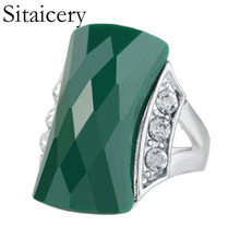Sitaicery Vintage Ring Fashion Crystal Stainless Steel Rings For Women Party Wedding Accesories Wholesale