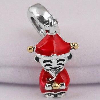 Original esmalte rojo chino dios de la fortuna colgante cuentas ajuste Plata de Ley 925 encanto Pandora pulsera Diy joyería